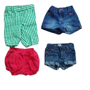 Lot of 4 Pairs of Girl's Shorts, 18-24m